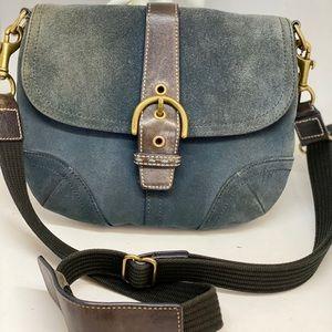 Coach Navy Blue Suede Leather Shoulder Bag